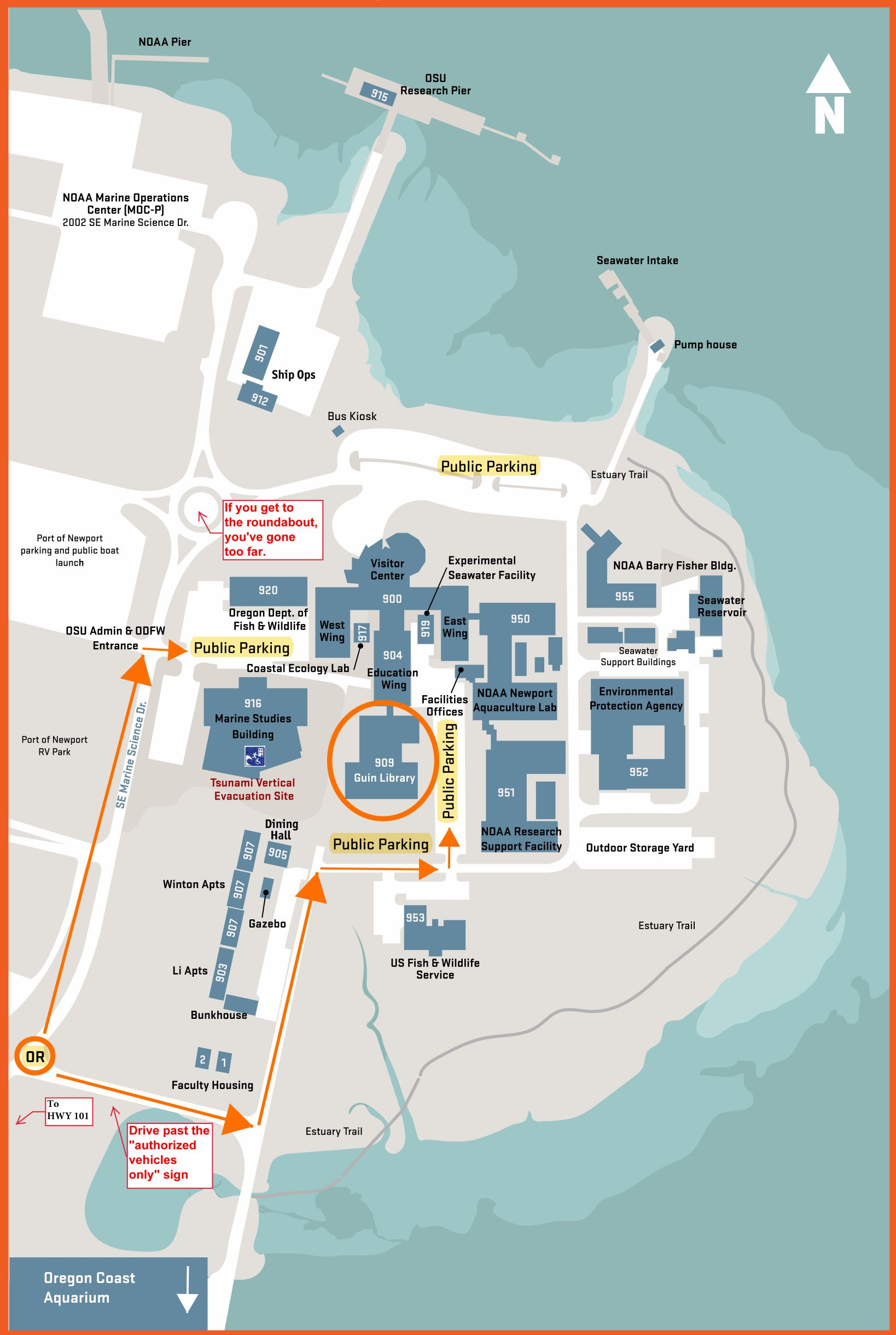 Hatfield Marine Science Center - Directions to Guin Library
